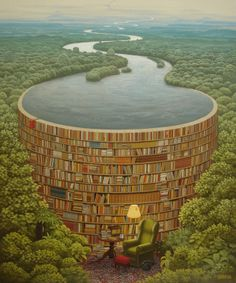 """Does this painting by Jacek Yerka symbolize the way that books contain knowledge? Or maybe it's a metaphor for how books protect us from a deluge of ignorance?  Or does the painting just look really cool?"""