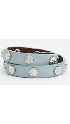 Check out NWT Tory Burch Leather Bracelet Wrap - Light Blue on Threadflip!
