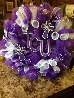 TCU Deco Mesh Wreath I made! Wreath Crafts, Wreath Ideas, Diy Wreath, Diy Crafts, Alabama Wreaths, Purple Wreath, Cross Wreath, Sports Wreaths, Homemade Wreaths