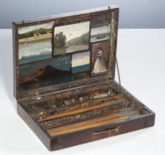 attributed to Camille Corot Casket painter Camille Corot with the inside of the lid 7 small paintings (effective time, work is undated) closed casket: height cm width 37 cm depth 27 cm oil on wood Gemeentemuseum: 1027170 Pochade Box, Watercolor Kit, Gear Art, Art Storage, Antique Paint, Painted Boxes, 3d Max, Painting & Drawing, Drawing Board