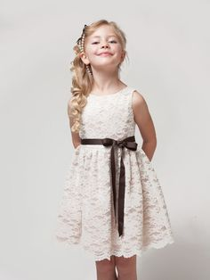 Ivory Beautiful Floral Lace Flower Girl Dress