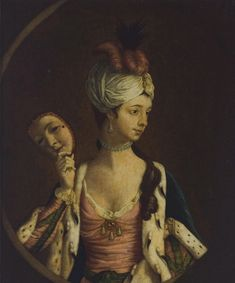 """""""The Beauty Unmasked,"""" a reverse painted mezzotint laid down onto glass, engraved by Philip Dawe after the painting by Henry Morland, and published in London in 1770 by Carington Bowles. It is part of the Tryon Palace collection. The reverse-painted mezzotint was a popular novelty of the 18th century."""