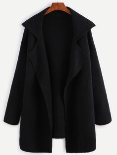 Black Notch Collar Open Front Sweater Coat