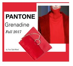 """""""Pantone Fashion Report Fall 2017 Grenadine"""" by yourstylemood ❤ liked on Polyvore featuring Oscar de la Renta, Chloé, pantone, grenadine, fall2017 and pantonefall2017"""