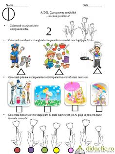 Fisa de lucru DS Flori de primavara Nivel I | ancuta_rotariu | 29.03.2012 Preschool Activities At Home, Kindergarten Games, Youth Activities, Spring Activities, Preschool Worksheets, Diy And Crafts, Crafts For Kids, Spring Crafts, Pre School