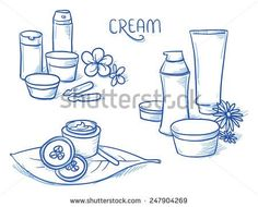 Icon item set skin care, cosmetic, beauty, with different bottles and tubes of cream, moisturizing, ampules, flowers and leafs. Hand drawn doodle vector illustration.