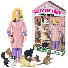 Crazy Cat Lady Action Figure Unique Gift Novelty Toy Kitsch Weird Toy Gag Funny