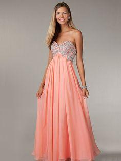 A-line Sweetheart Chiffon Beading Prom Dresses #BK614