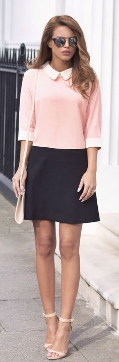 Nada Adelle is showing off the blush pink fashion trend with a Lia blush pink and black collared dress