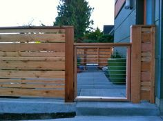 Horizontal wood fence and gate                                                                                                                                                                                 More