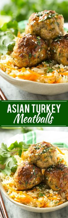 This recipe for asian turkey meatballs involves light and tender meatballs that are seasoned with asian flavors, tossed in a honey garlic sauce and served over a colorful carrot rice. It's a quick and easy weeknight meal that the whole family will love! Turkey Dishes, Turkey Recipes, Chicken Recipes, Dinner Recipes, Asian Recipes, Healthy Recipes, Ethnic Recipes, Asian Turkey Meatballs, Easy Weeknight Meals