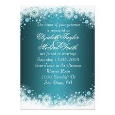 Luxury Blue Christmas Lace Wedding Invite