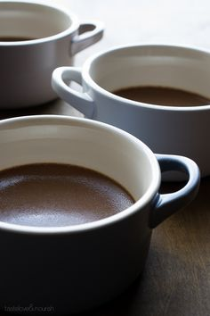 Milk Chocolate Pots de Creme | @tasteLUVnourish | #chocolate #potsdecreme #light