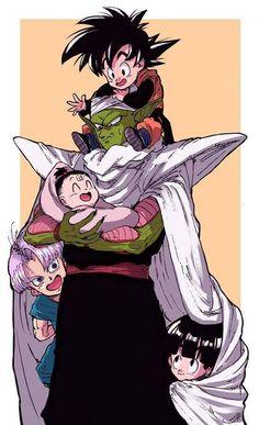Piccolo, Gohan, Trunks, Goten, and Pan
