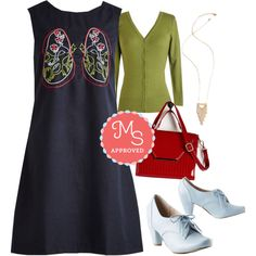 In this outfit: Push and Pulmonary Dress, Charter School Cardigan in Sage, One Day at a Chime Necklace, See What I Sheen? Satchel, Swing Along Heel #lungs #cute #quirky #fashion #ModCloth #ModStylist