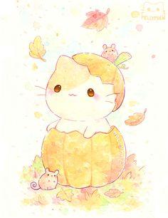Kawaii Halloween, Theme Halloween, Cute Halloween, Cute Animal Drawings Kawaii, Kawaii Art, Cute Drawings, Halloween Illustration, Halloween Drawings, Illustration Art