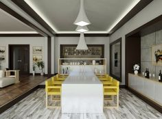 Finally, dining chairs in egg yolk yellow are a sunny focal point for this otherwise neutral space.