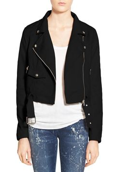 Crop Faux Suede Moto Jacket