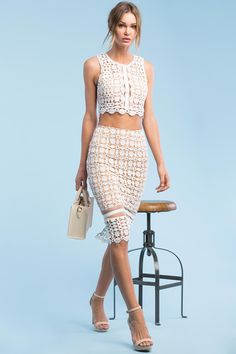 Women's Skirts | Spring Fling Crochet Pencil Skirt | A'GACI