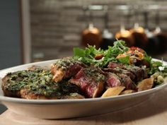 Broiled Porterhouse with Roasted Garlic and Lemon - Recipe courtesy Michael Symon, Show:Symon's Suppers,  Episode:Steak Night