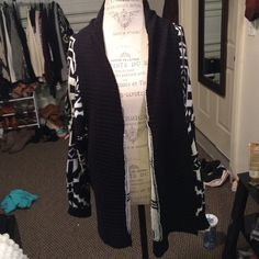 Black cardigan/sweater Really cute and stylish black and white sweater/cardigan Sweaters Cardigans