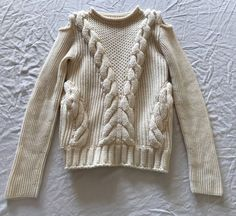 ~ ALEXANDER MCQUEEN IVORY SHOULDER CUT OUT SWEATER (INSANELY COOL)  M #AlexanderMcQueen #Pullover