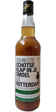 Gemikste Schotse klap in je smoel uit Rotterdam Blended Scotch Whisky from Rotterdam . The strength of this whisky is % Vol. Rotterdam, Bourbon Whiskey, Scotch Whisky, Hot Sauce Bottles, Netherlands, Pride, The Nederlands, Scotch Whiskey, Holland