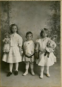Large 1900 Photo of Three Children Two Holding Large Dolls San Francisco CA | eBay