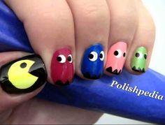 Pac Man nails, I love this because I love the video game! 😏 - Cat Pac Man nails, I love this because Cute Nail Art, Easy Nail Art, We Heart It Nails, Pac Man Nails, 80s Nails, Glow Nails, Nail Art Games, Nails Games, Nails For Kids