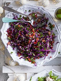 Tabbouleh slaw - We've ditched the bulgar wheat, but kept all the herby loveliness of a classic tabbouleh in this ruby winter slaw. Sprinkle some sumac over the slaw before serving, if you like