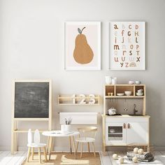 Ikea hack child's kitchen with play area and beautiful kids art on the walls. … Ikea hack child's kitchen with play area and beautiful kids art on the walls. Alphabet chart ideas with rainbows on and matching rainbow prints. Small Playroom, Toddler Playroom, Playroom Design, Playroom Decor, Baby Room Decor, Nursery Room, Nursery Artwork, Kids Playroom Ideas Toddlers, Children Playroom