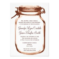 Mason Jar Country Rustic Wedding Invitations