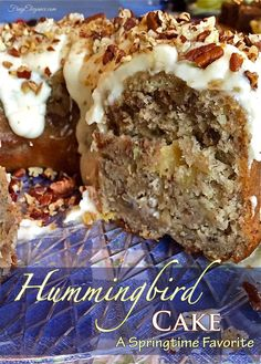 Hummingbird Cake Recipe -A Springtime Favorite Hummingbird Cake Recipe, Hummingbird Cake Recipe A Springtime Favorite, Hummingbird Bundt Cake Recipe - This is a Fabulous Hummingbird Cake Recipe Bundt Style with Glaze Frosting! Köstliche Desserts, Delicious Desserts, Dessert Recipes, Spice Cake Recipes, Homemade Cake Recipes, Pound Cake Recipes, Plated Desserts, Hummingbird Bundt Cake Recipe, Desert Recipes