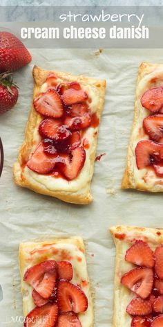 This Easy Strawberry Cream Cheese Danish uses puff pastry and fresh strawberries, making it the ultimate quick summer dessert! Use whatever fruit you like! Includes step by step recipe video.   strawberry recipes   fresh strawberries   summer dessert   easy dessert   puff pastry   puff pastry danish