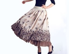peacock print Linen  long  maxi skirt (0043). $55.80, via Etsy.