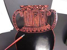 greek vases on scratch paper as practice for paper mache 3-D vases