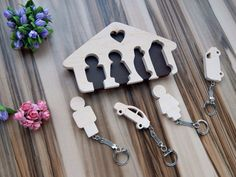 Wooden key holder key holder with keychains Home decor Wood