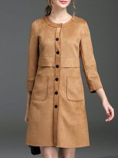Yellow Pockets 3/4 Sleeve Suede Coat