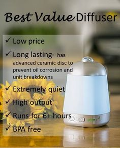 WOW- on sale for only $25 right now (1:58pm 9/5/15). This is one of my favorite diffusers at any price- so it's even that much more amazing that it's also one of the lowest price diffusers out there. Great for bedrooms, living rooms, and kitchens. Simply add water and a few drops of essential oil and it runs for 6+ hours.