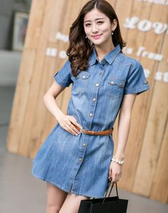 Casual Denim Dress Shirt 2014 Summer New Fashion Women Clothing Elegant Vintage Femal Jeans Blouse Dresses Plus Size M-XXL Blue