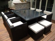 Mirage 6 - 13pc Glass Top Cube Wicker Dining Set With Chairs and Ottomans