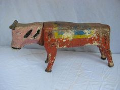 Antique Carved Painted Child's Bull Carousel Ride Folk Art