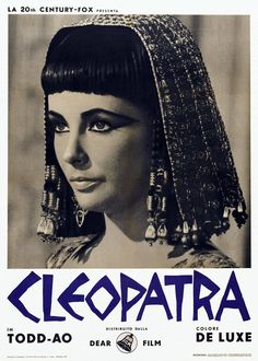 """Cleopatra"" This is the movie that started the love affair between Elizabeth Taylor and Richard Burton. The Pope condemned them as they were both married to other people. Classic Movie Posters, Classic Movies, Sleepy Hollow, Old Movies, Great Movies, La Revanche D'une Blonde, Hunger Games, Elizabeth Taylor Cleopatra, Make Up"