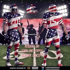"Happy Memorial Day!! Made this ""STARS AND STRIPES"" uniform concept for Memorial Day! Today, we honor all those who made the ultimate sacrifice! #MemorialDay #USA #RedWhiteBlue #RedWhiteandBlue #Military #Army #Navy #Marines #AirForce #ArmyStrong #Uniform #Concept #AmericanFlag #Merica #Murica #NFL #Football #sport #sports #sportsposters #ESPN #STARSANDSTRIPES #Memorial #Honor #Blessed #Thankful #RIP ⚪️"
