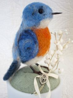 needle felted Bertie Bluebird