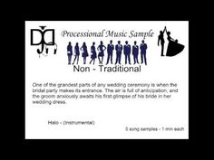 ▶ Non Traditional Wedding Music - Processional - YouTube a little different and I know you have something already but thought Halo was awesome!