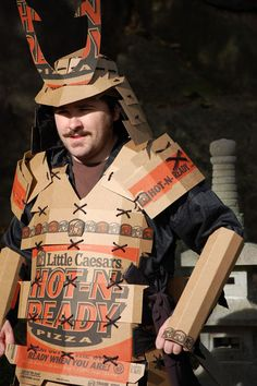 Samurai Little Caesars Pizza Box Custume