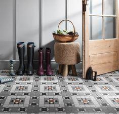 Tile Size: Colour: Kendal Grey Application: Wall & Floor No. Tiles Per No. Tiles Per Box: 10 Victorian Tiles, Victorian Design, House Tiles, Wall And Floor Tiles, Classic Home Decor, Classic House, Geometric Designs, Geometric Shapes, Iron Accessories