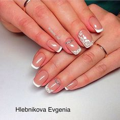 Beautiful wedding nails, Bridal nails, Delicate wedding nails, Nails for wedding dress, Original wedding nails, Square french nails, Wedding French manicure, Wedding nails ideas