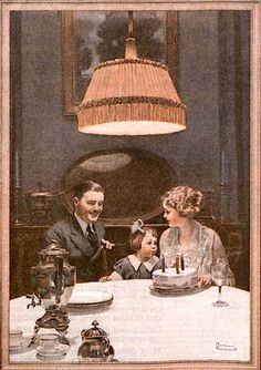 "...norman rockwell...this appealing family scene is from a 1920 ad for edison lamp works... showing how much electric light adds to our lives, the text waxes poetic: ""from the first candle of youth to the twilight of life, the moments that mean most are etched in memory by the glow of a lamp""..."